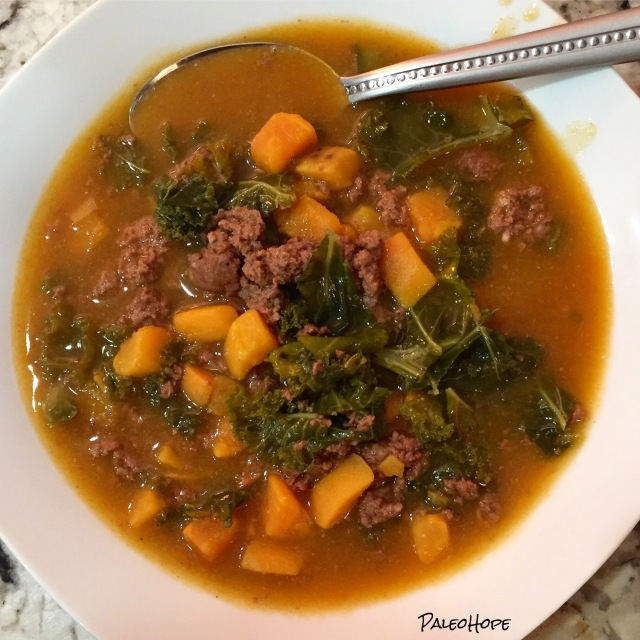 Chorizo, Kale, and Sweet Potato Soup | PaleoHope